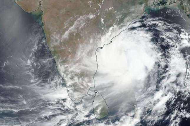 A NASA satellite image shows Cyclone Fani as it approaches the east coast of India Wednesday. Photo by NASA/EPA-EFE