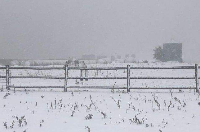 A farm near Valley City, N.D., is blanketed by snow Friday afternoon. Photo courtesy of Alisha Nord