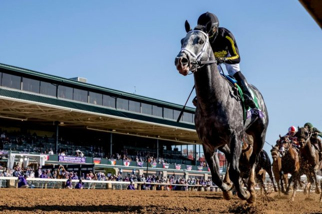 Knicks Go, seen winning the Breeders' Cup Dirt Mile at Keeneland, is among the favorites for Saturday's $20 million Saudi Cup. Photo by Alex Evers, Eclipse Sportswire, courtesy of Breeders' Cup