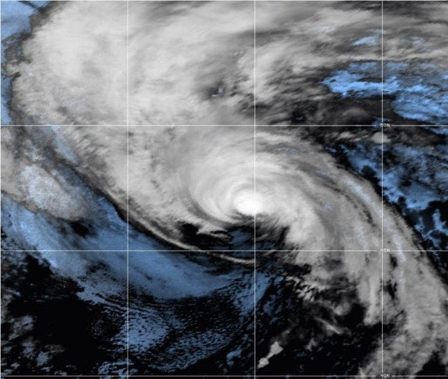 Hurricane Sam continued weakening and is forecast to become a post-tropical low Monday. Photo courtesy NOAA