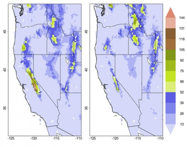 Computer simulations show the water equivalent of the snowpack by April 1 decreased in range and depth from pre-deforestation levels (left) when the Amazon was cleared (right). The depth is measured in centimeters with the redder areas indicating more snow. Crdit: David Medvigy