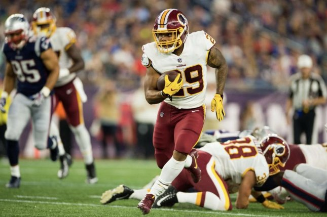 Former LSU running back Derrius Guice appeared in just one preseason game before being lost for the season with an ACL tear in August. Photo courtesy of the Washington Redskins