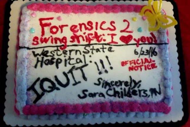 A Washington state nurse used this cake to resign from her position at a hospital. Screenshot: KOMO-TV