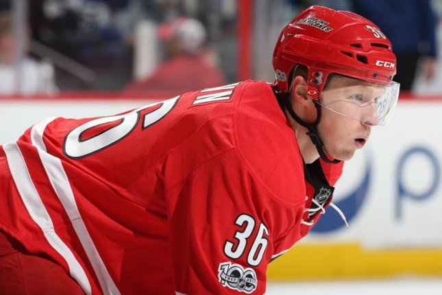 Patrick Brown, a 25-year-old center, will be paid $650,000 at the NHL level or $160,000 at the AHL level next season, per the team. He is guaranteed at least $190,000. Photo courtesy of Carolina Hurricanes/Twitter