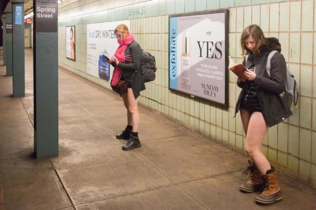 Commuters ride the subway sans trousers for the annual No Pants Subway Ride in New York. Photo courtesy of Improv Everywhere