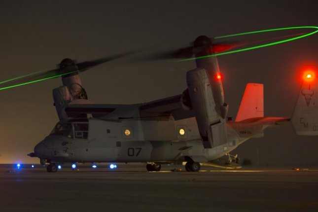 An MV-22C Osprey assigned to Special Purpose Marine Air-Ground Task Force-Crisis Response-Africa, prepares for night operations at Morón Air Base, Spain, on Oct. 4, 2017. SPMAGTF-CR-AF deployed to conduct limited crises-response and theatre-security operation in Europe and North Africa. Photo by Sgt. Takoune H. Norasingh/U.S. Marine Corps