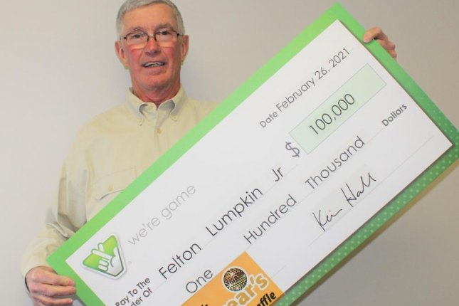 Felton Lumpkin, of Mechanicsville, Va., told Virginia Lottery officials his $100,000 winning ticket from Virginia's New Year's Millionaire Raffle spent nearly two months forgotten in the glove box of his vehicle. Photo courtesy of the Virginia Lottery