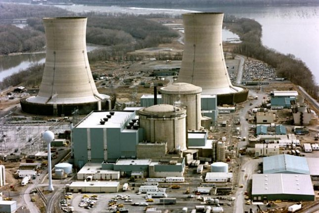 View of the Three Mile Island Nuclear Generating Station, circa 1979. On March 28, 1979, a failure in the cooling system at the nuclear power plant on Three Mile Island in Pennsylvania caused a near meltdown. It was the worst accident at a U.S. civilian nuclear facility. Photo via Department of Energy