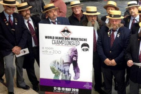 The mustache club of Antwerp, Belgium, prepares to welcome the 2019 World Beards and Mustache Championships. The three-day event and compeition began on Friday. Photo courtesy of Snorrenclub Antwerpen/Facebook