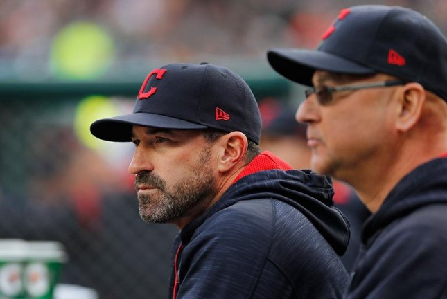 Cleveland Indians pitching coach Mickey Callaway (left) will be named the new manager of the New York Mets, multiple media outlets reported Sunday. Photo courtesy of MLB/Twitter