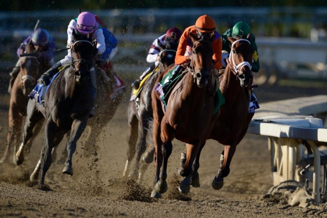 Beholder, seen taking the lead in the 2013 Breeders' Cup Distaff, takes on males in Saturday's Grade I Pacific Classic at Del Mar. (Breeders' Cup photo)