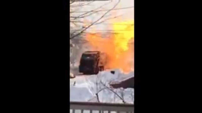 A garbage truck caught fire on a New Jersey street and promptly exploded. NJ.com/YouTube video screenshot