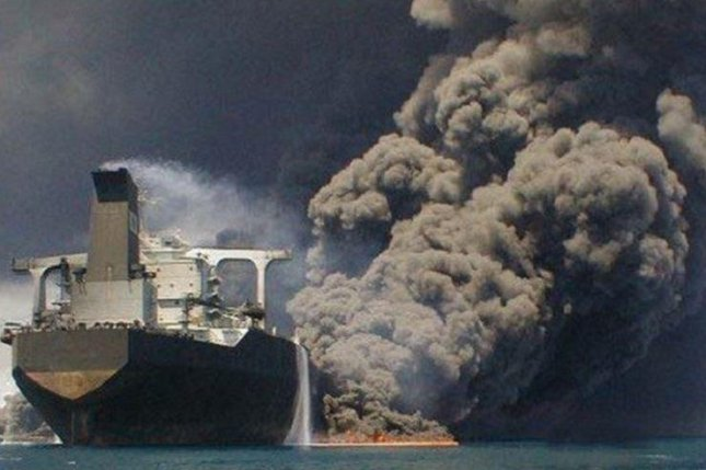 Some of the crew may still be alive if they escaped to parts of the Sanchi oil tanker below the fire line, Iranian officials say. Photo courtesy of IRNA