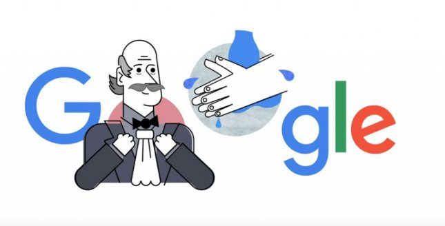 Google is paying homage to physician Dr. Ignaz Semmelweis and hand washing with a new Doodle. Image courtesy of Google