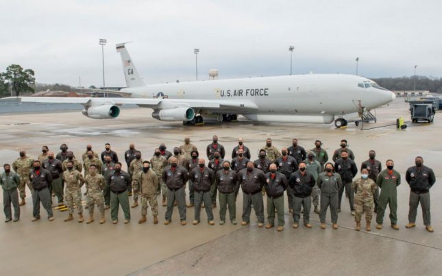 For the first time, an all-Black crew of 33 flew a JSTARS surveillance training mission at Robins Air Force Base, Ga., on February 19, 2021. Photo by Sgt. Nancy Goldberger/U.S. Air Force