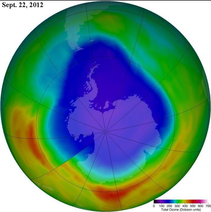 Antarctic ozone hole Sept. 22. Credit: NASA