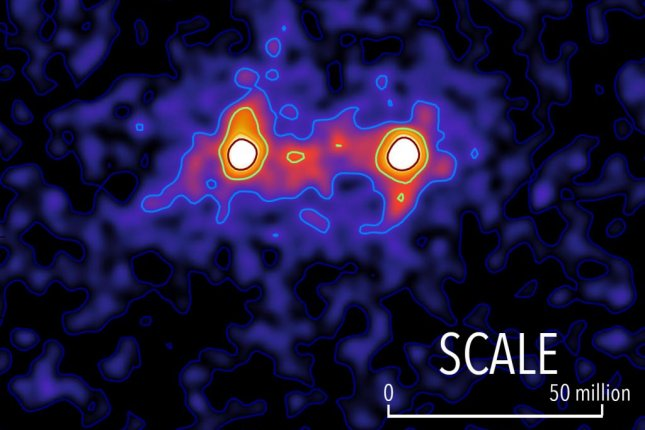 A survey of weak gravitational lensing among the light from galactic pairs revealed filaments of dark matter stringing together galaxies -- a dark matter web. Photo by S. Epps & M. Hudson/University of Waterloo