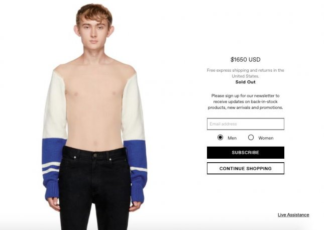 Calvin Klein's $1,650 multicolor wool cheerleader sweater creates an illusion of a sleeves only sweater due to a semi-sheer stretch nylon torso.  Screen capture/Ssense