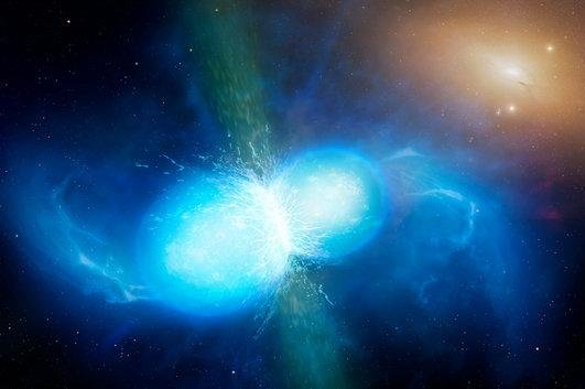 Scientists have identified freshly forged strontium in the spectra of a neutron-star merger. Photo by University of Warwick/Mark Garlick/ESO