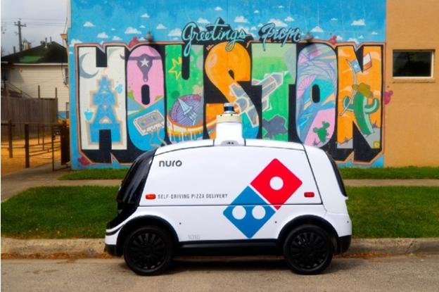 Domino's autonomous pizza delivery vehicle, the R2, is seen in Houston, Texas, where it will undergo testing. The vehicle is developed by Nuro. Photo courtesy Nuro