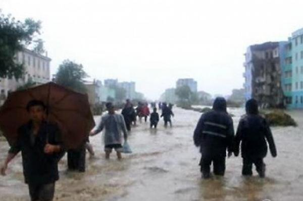 In August 2015 North Korea aired unprecedented footage of floods that wiped out homes and displaced thousands. Severe weather also led to damages in 2016, according to state media. File Photo by KCTV