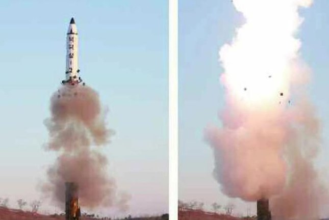 North Korea launched its midrange ballistic missile, the Pukguksong-2, on a new transporter erector launcher, state media said in February. That launcher may been captured on civilian satellite. File Photo screenshot of KCTV