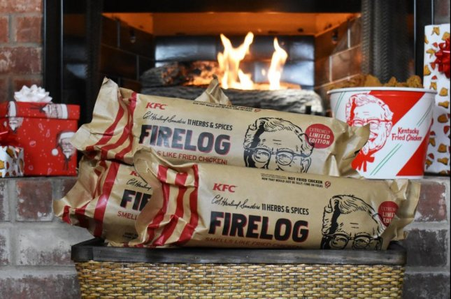 Kentucky Fried Chicken is selling fire logs designed to smell like the chain's fried chicken. Photo courtesy of KFC