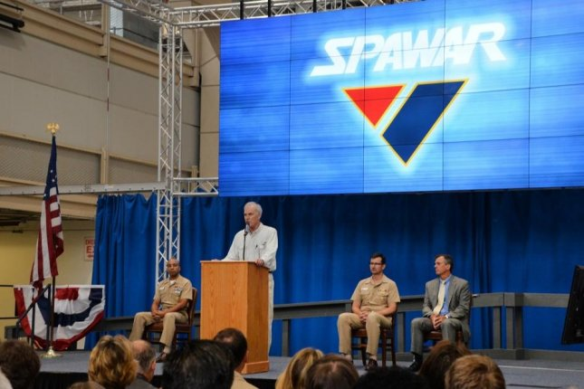 Secretary of the Navy Richard V. Spencer addresses the Space and Naval Warfare Systems Command workforce during an all hands event at the command's Old Town Complex. Photo by Rick Naystatt/U.S. Navy