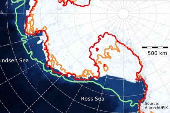 The West Antarctica Ice Sheet reached its maximum extent, shown in green, at the end of the last ice age. It reached its minimum extent some 10,000 years ago, seen in red. A buttressing effect triggered some rebound, as marked by orange, representing a modern grounding line. Photo by Albrecht/PIK