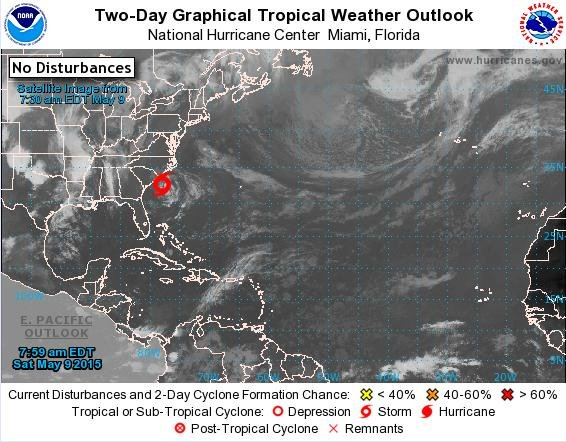 The National Hurricane Center is issuing advisories on Tropical Storm Ana, but cyclone formation is not expected in the next five days. Photo by National Hurricane Center/NWS