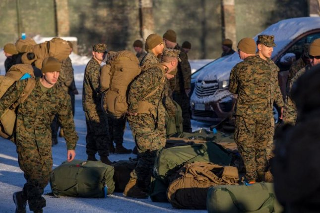 About 300 U.S. Marines arrived in Norway's Trondheim Airport on Monday as part of a bilateral agreement in which they will undergo winter training led by Norwegian troops. The deployment comes amid a separate NATO-support operation to bolster its northern border with Russia. Photo courtesy of Norwegian military