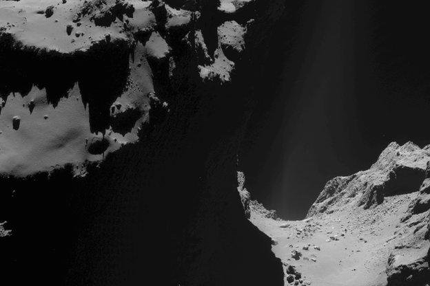 Scientists were unable to locate any signs of the Philae lander in new closeup imagery captured by Rosetta. Photo by ESA/ROSETTA/NAVCAM.