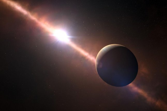An artistic impression of the exoplanet Beta Pictoris b and its young host star. Photo by ESO/L. Calçada/N. Risinger