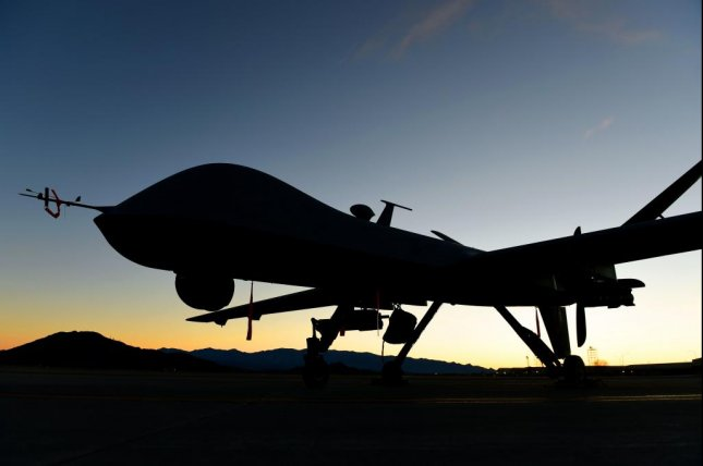 An MQ-9 Reaper sits on the flight line at Nevada's Creech Air Force Base in 2019. Photo by Haley Stevens/U.S. Air Force