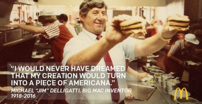 Michael 'Jim' Delligatti, the creator of the Big Mac, died in his Pittsburgh-area home on Monday, a McDonald's spokeswoman said. Delligatti first served the hamburger in 1967 before the company added the culinary creation to its national menu in 1968. Photo courtesy of McDonald's