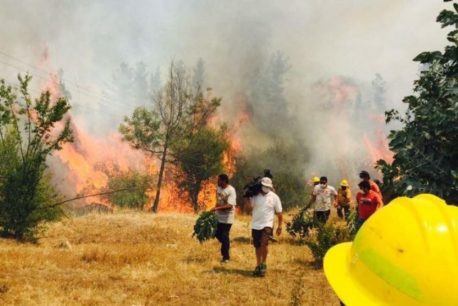 At least three people have died in fires in Chile that have burned nearly 500 square miles, Chile's Ministry of Interior and Public Safety said Monday. Photo courtesy of Chilean Army