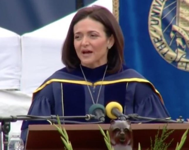 Facebook COO Sheryl Sandberg discussed resilience and loss while speaking publicly about her husband's death for the first time in a speech which may inspire her second book. Sandberg addressed graduates of UC Berkeley during a commencement speech on Saturday and encouraged the group to remain resilient through hard times and live as if you had eleven days left. Her first book Lean In: Women, Work and the Will to Lead was released in 2013. Screen capture/UC Berkeley/Facebook