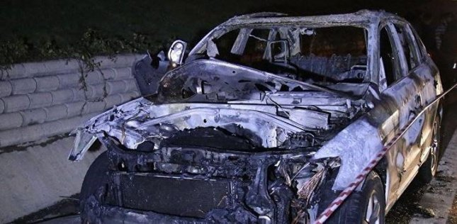 The car of Saed Karimian, Iranian broadcasting mogul and founder of Gem TV, was burned after he was ambushed and killed Saturday in Istanbul. Photo courtesy of Anadolu Agency