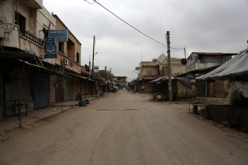 Streets are seen deserted in Saraqib city in Idlib province, Syria, on Wednesday. Photo by Yahya Nemah/EPA-EFE