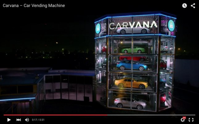 Used-car website Carvana added an alternative pick-up method for their customers -- the world's first coin-operated car vending machine. Photo By Carvana/YouTube