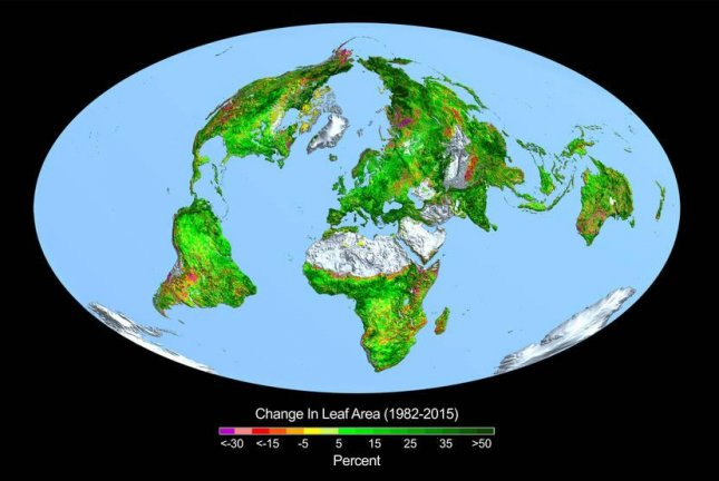A map of the world visualizes the change in leaf area, or greening, over the past 30 years. Photo by Boston University/R. Myneni