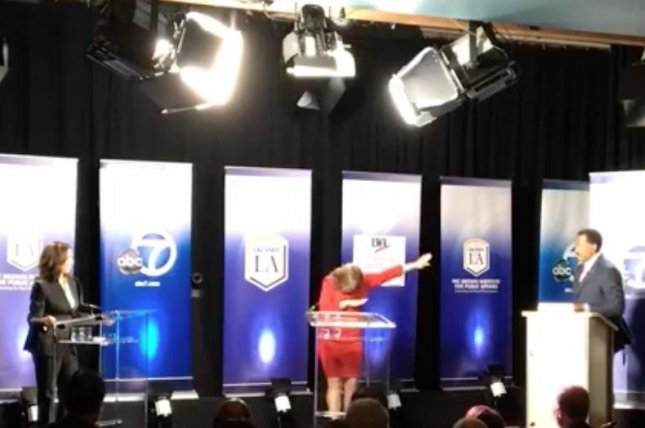 California U.S. Senate candidate Loretta Sanchez shocked opponent Kamala Harris by dabbing during their only debate. Sanchez performed the dance move popularized by rap group Migos in response to the moderator's attempts to enforce the debate's time limit.  Screen capture/California State University, Los Angeles/Facebook