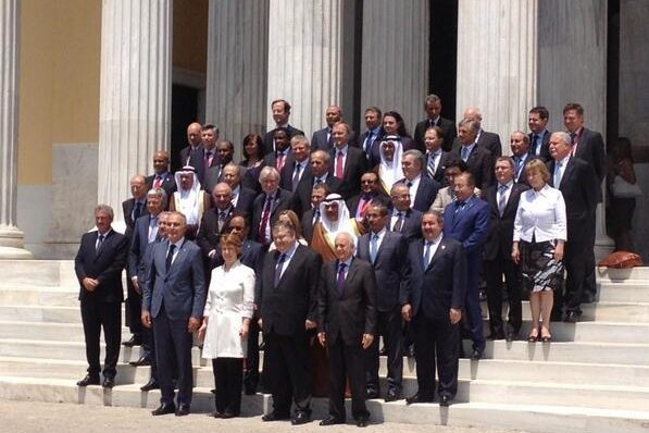 Foreign ministers from the European Union and League of Arab States assemble for a family photo at their third ministerial meeting in Athens, Greece, on June 11, 2014. (Twitter/EU/Michael Mann)