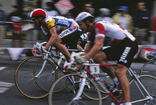 Greg LeMond (red helmet) pictured racing in the 1986 Coors Classic in San Francisco. On July 27, 1986, LeMond became the first American in history to win the prestigious Tour de France. Photo courtesy Gocal83