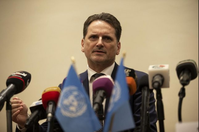 UNRWA Commissioner-General Pierre Krahenbuhl speaks to reporters on June 17 at an event near Amman, Jordan. File Photo by Andre Pain/EPA-EFE