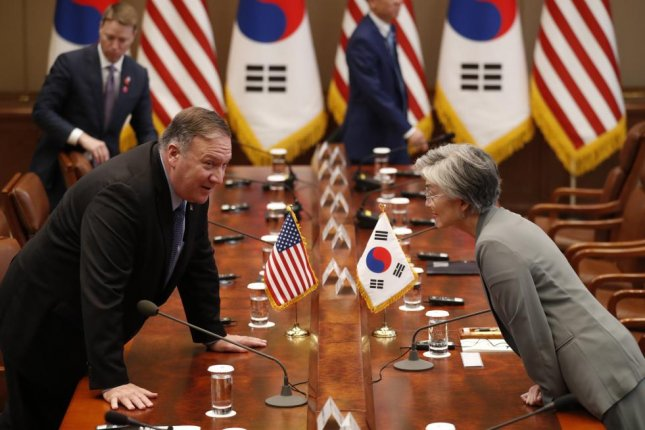 U.S. Secretary of State Mike Pompeo (L) and South Korean Foreign Minister Kang Kyung-wha (R) discussed North Korea in Palo Alto, Calif., on Tuesday. File Pool Photo by Kim Hong-ji/EPA-EFE
