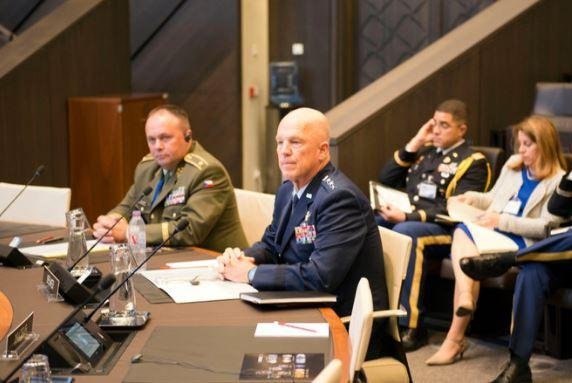 U.S. Air Force Lt. Gen. Scott Kindsvater (C) addressed the NATO Military Committee in Brussels on Monday, calling for vigilance in space. Photo courtesy of NATO