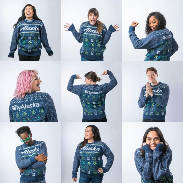 Alaska Airlines said passengers wearing holiday sweaters will be offered preferred boarding on Dec. 20, National Ugly Sweater Day. Photo courtesy of Alaska Airlines