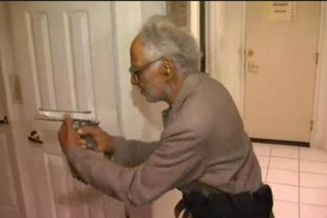 Joe Milspaugh, a ninety-two-year-old World War II veteran, fired his handgun to defend his home from a burglar armed with an ax.