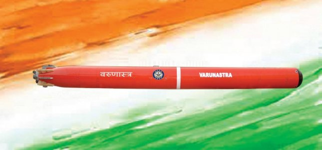 The Indian navy received the indigenously made, anti-submarine Varunastra electric torpedo during a ceremony Wednesday, the sea service said. Photo by DRDO/Facebook.